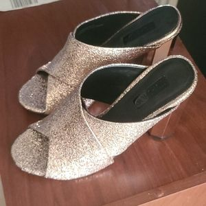 TopShop Rose Gold Metallic Mules Heels